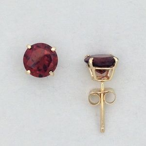 Jewelry - Solid 10kt Yellow Gold Earrings Natural Garnet